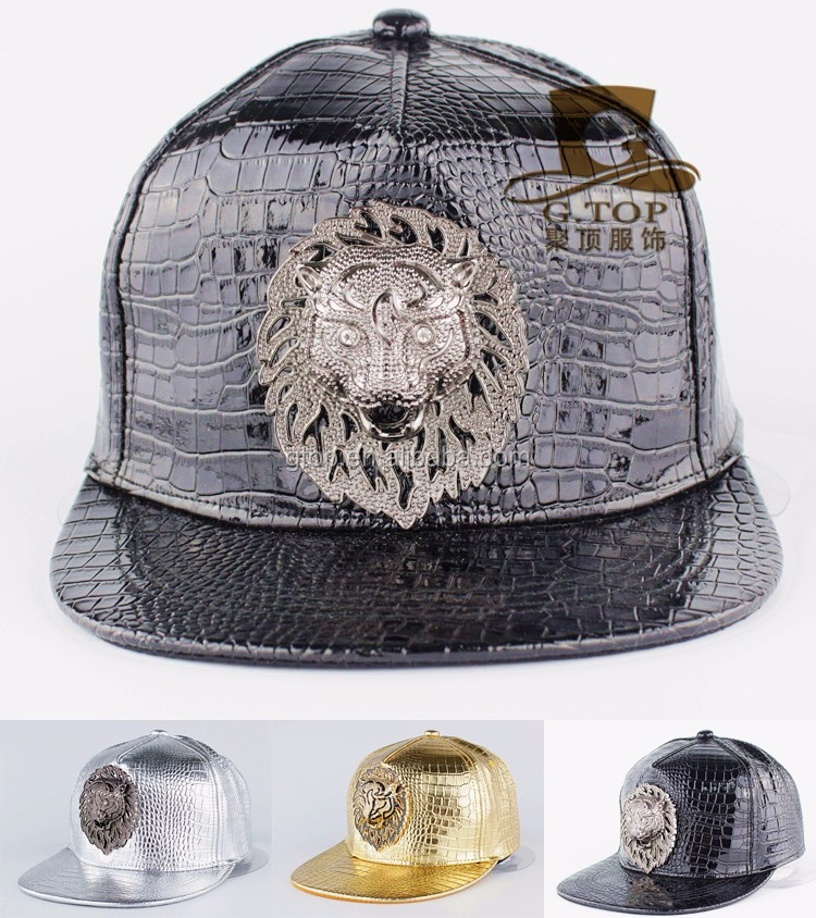Lion metal mark crocodile Leather snapback hats hip hop <strong>cap</strong> LH-126