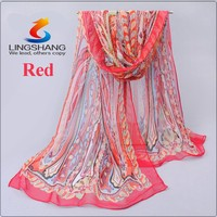 Lingshang new style chiffon georgette scarf shawl women thin long peony flower leaves pattern scarves stoles wholesale