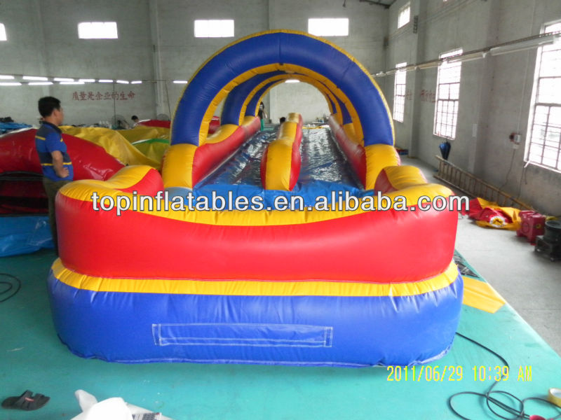 TOP 0.55mm PVC inflatable slip and slide double lane with pool