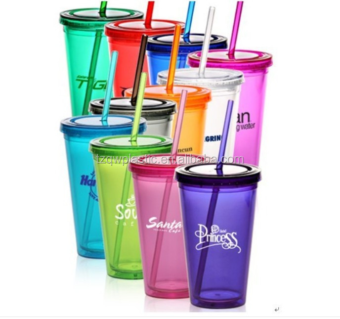 Customized double wall clear plastic cup with lids and straw
