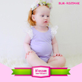 Soft Baby Cotton Romper Lavender Lace Angel Wings Flutter Sleeve Bodysuit