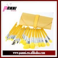 Shiny lemon yellow 23pcs makeup brushes nylon hair brushes unique cosmetic brush in fresh yellow pouch