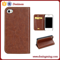 mass production case for iphone 4, phone cover for iphone 4s, new arrival leather flip case for iphone 4 4s