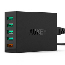Aukey Quick Charge 2.0 54W 5 Ports USB Desktop Charging Station Wall Charger,EU plug
