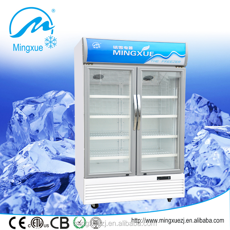 two glass door showcase 728L upright beverages display cooler