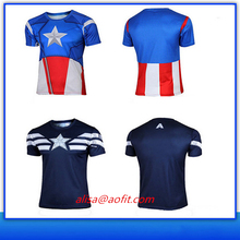 Fashion Muti-design Captain America Iron Man Flash Super Man Breathable Light Dry-fit Sport T-shirt