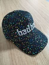 Custom rhinestone baseball caps Colored dots all over printing 5 panel baseball caps Seam tapes print baseball caps sun hats