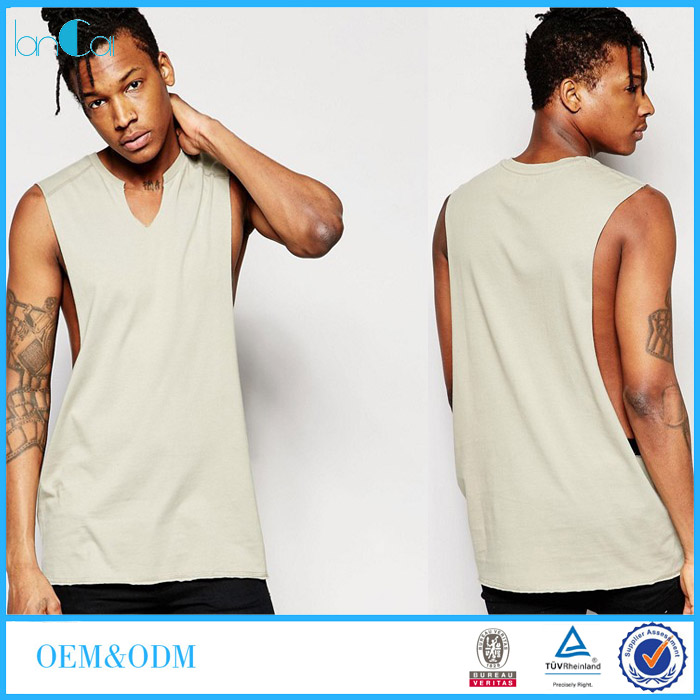 Clothing Manufacturing Companies Blank Cotton V-neck Sleeveless Apparel Muscle Fit Men's T-shirt LC8505-N