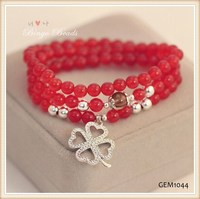 Natural red crystal, Thai silver pendants Clover, South Korea style charm bracelet fashion bracelet GEM 1044
