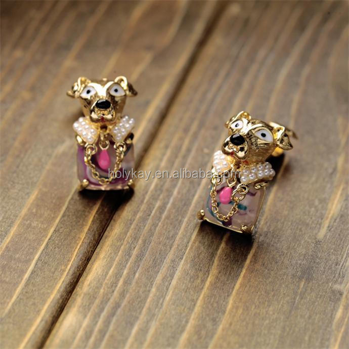 Fashion animal dog stud earring, 2015 hot trending ebay europe all product