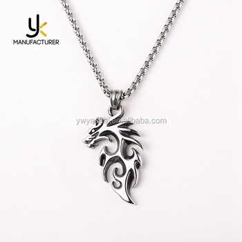 Totems Jewelry Mens Silver Colors Stainless Steel Hollow Dragon Pendant Necklace Wholesale