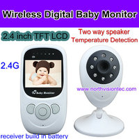 2.4G Wireless Digital Baby Monitor, Two way talk, nightlight, temperature detection