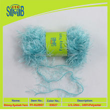New design top quality Super soft popular fashion polyester feather decorated twist fancy yarn