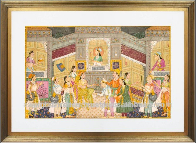 Handpainted Classical Framed Paper Oil Paintings