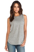heathered jersey knit breast pocket tank tops Holland