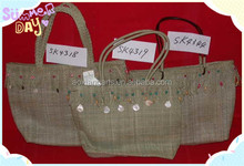 2014Hot selling Wholesale flax weaving bagshopping bag beach bag