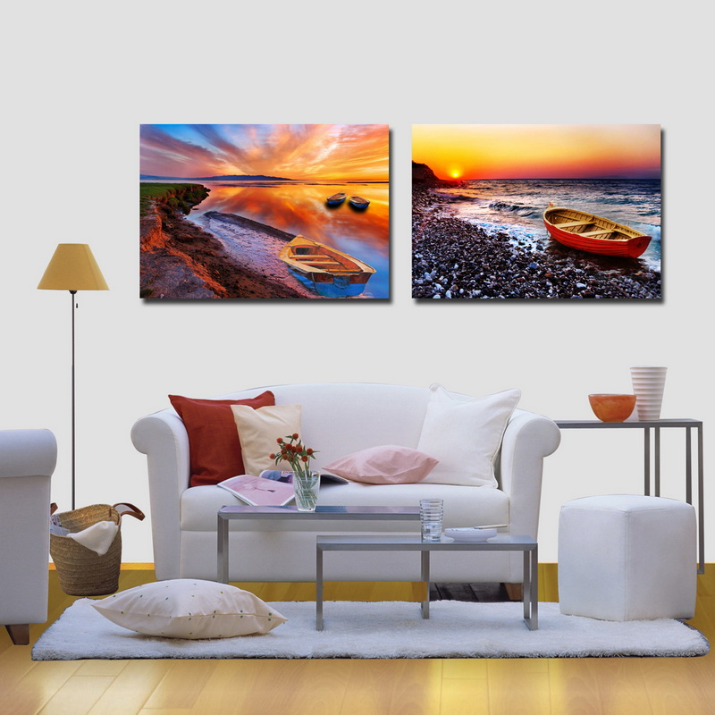 2 panel modern seascape printed painting wall decor custom canvas prints <strong>art</strong> for bedroom decoration