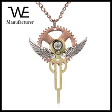 Nnisex Eagle wings Fly Free Styre Gears Angel Crystal Rhinestone Key Necklace