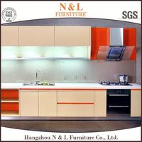 latest modern high gloss lacquer 2 PAC European Australian kitchen cabinet design pecan wood kitchen cabinets