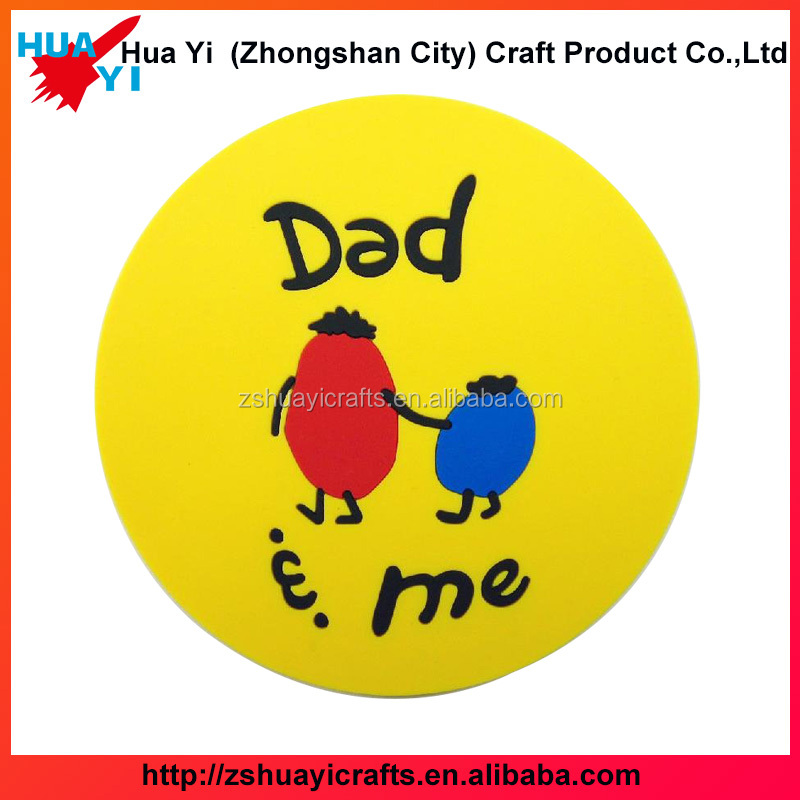 Factory customized design yellow color soft PVC coaster round embossed rubber coasters