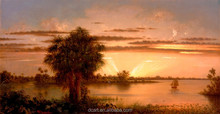Martin Johnson Heade-Florida Sunrise Handmade Classical Landscape Ready To Hang Oil Painting