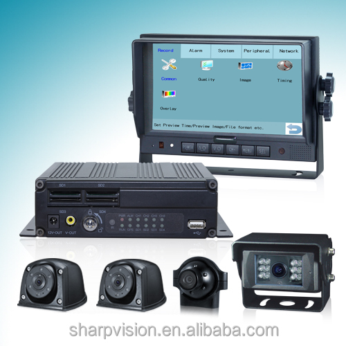 7 inch touch-control 4ch car dvr kit with 3g/4g, wifi, gps, G-sensor