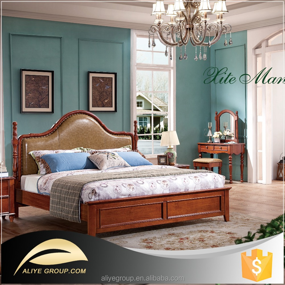 Wholesale luxury solid bed room furniture bedroom set - A1605(kin gsize bed +2 night stand)
