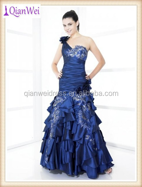sapphire one shoulder strap ruched bodice embroidered mermaid taffeta muslim prom dresses with ruffled tiered skirts