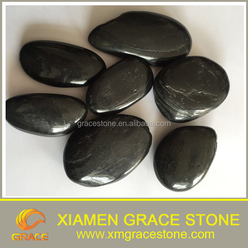 Black polished Chinese landscape pebble stone cheap for sale