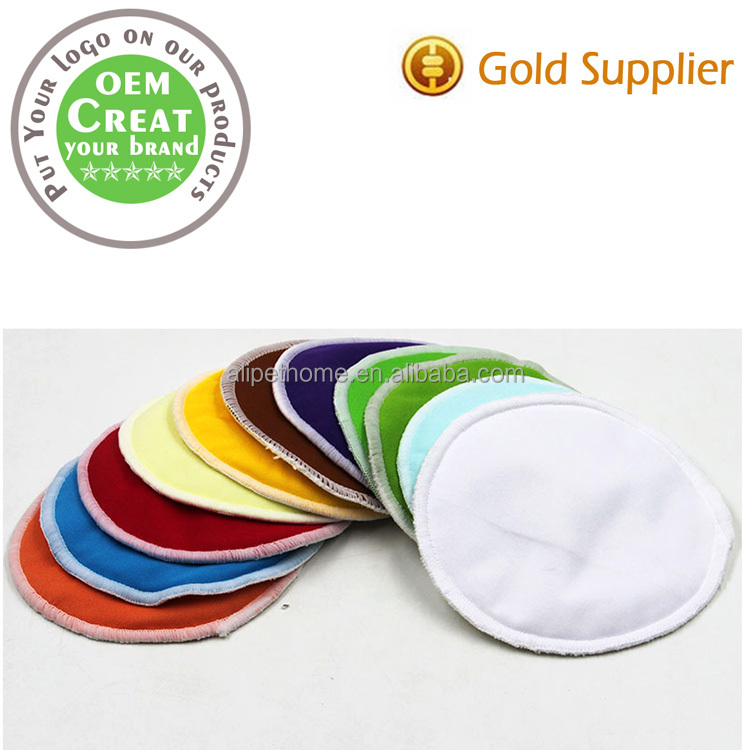 Three layers of bamboo fiber color overflow washable Breast pad