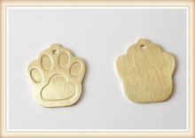 Guangzhou jewelry wholesale custom paw shape raw brass dog tags for pets