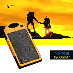 2015 outdoor flashlight solar power bank 12000mah for iphone 5