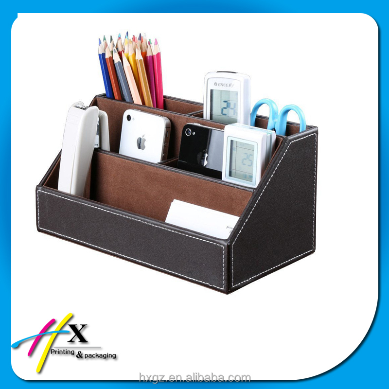 Fashion Leather Wooden 5 slot Stationery Storage Box Cosmetic Holder Pencil Case