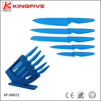 High quality stainless steel reasonable price blue blade and blue handle kitchen knife set with blue holder