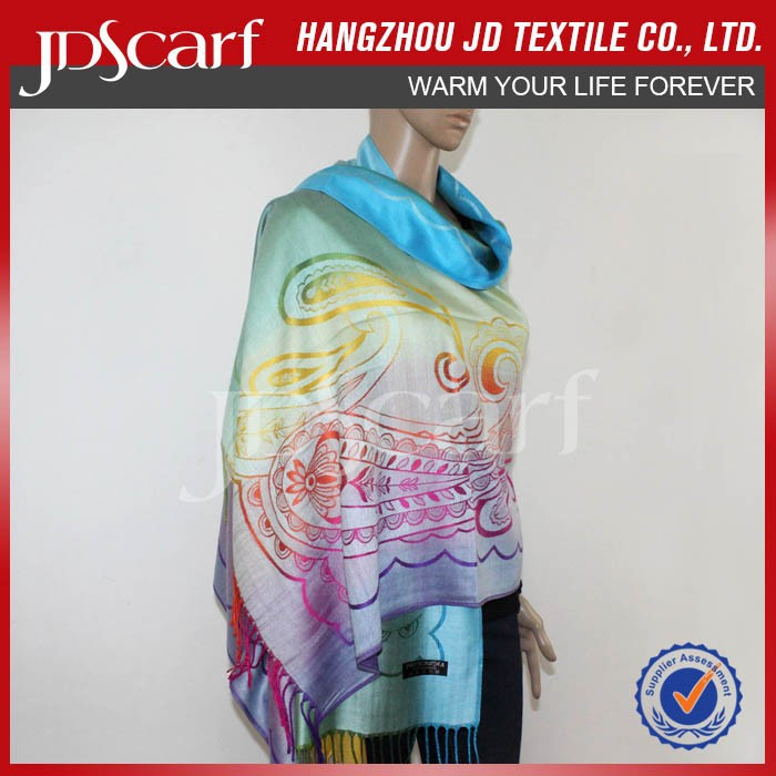 OEM newest design gradient color viscose fashion big pashmina scarf