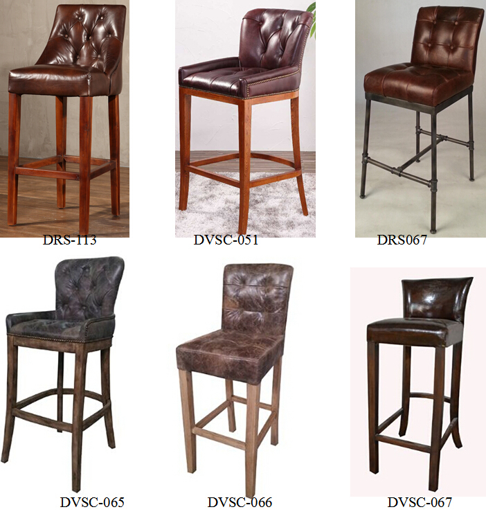 Rustic Lodge Antique Leather Tavern Bar Stool With Oak