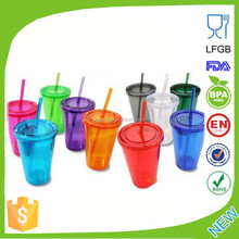2015 bulk china supplier double wall plastic tumbler with straw acrylic tumbler