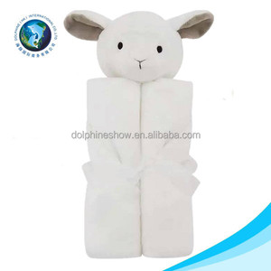 ICTI standard plush blanket with animal head custom cute soft plush sheep toy baby swaddle blanket