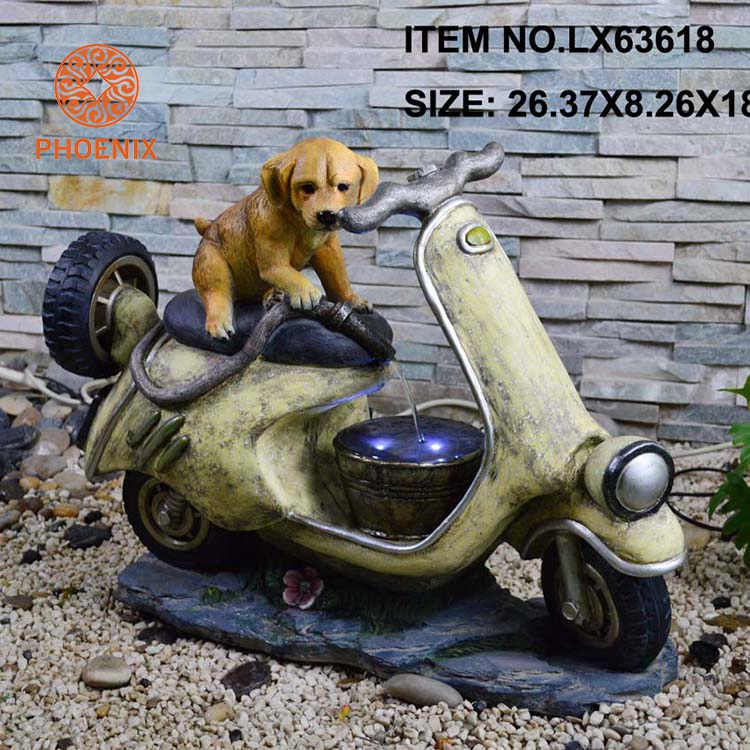 Lovely Dog And Motorcycle Polyresin Garden Water Fountains Decoration