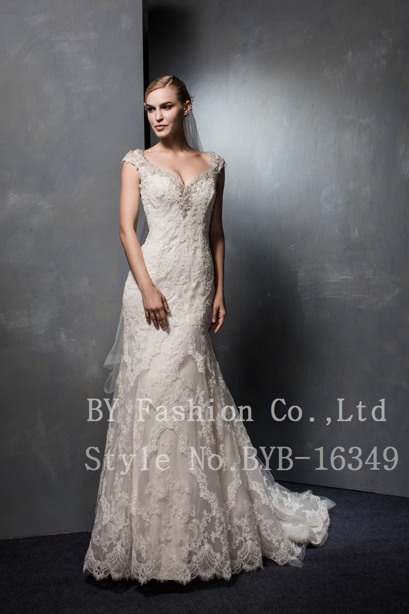 Latest Designs Cap Sleeve Beaded Body long Bridal Gowns Lace Appliqued Mermaid bridesmaid Wedding Dress
