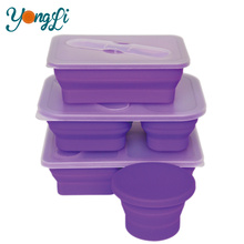 Wholesales 3-Compartment Takeaway Collapsible Silicone Food Grade Microwave Food Container