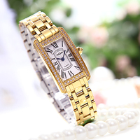 Unique Fashion Square Lady Watch Japan Movement Top Grade Diamond Woman Dress Watch