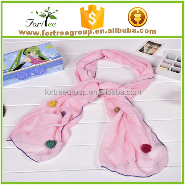 new style muslim flower embroidery long hijab scarf