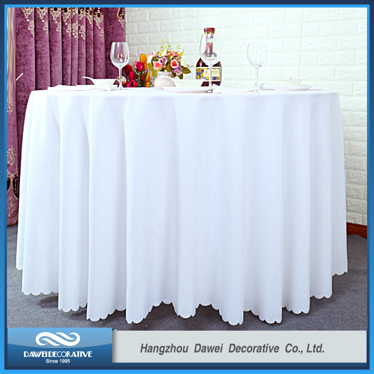 "120"" White Plain Polyester Table Cloth"