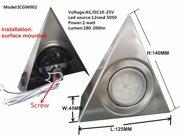 classic AC/DC10-25V 2W,side button,kitchen triangle under led cabinet light