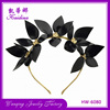 European Wedding Headdress Handmade Black Flower Metal Headband Womans Hair Accessory