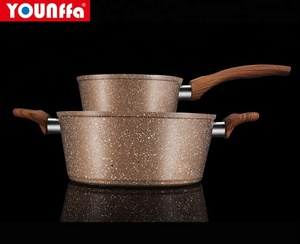 YF-F1BT007. marble coating forged aluminum cookware