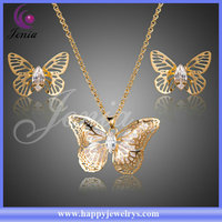 Newest design butterfly shaped sparkling crystal real 18k gold plated jewelry sets dubai (XS081)
