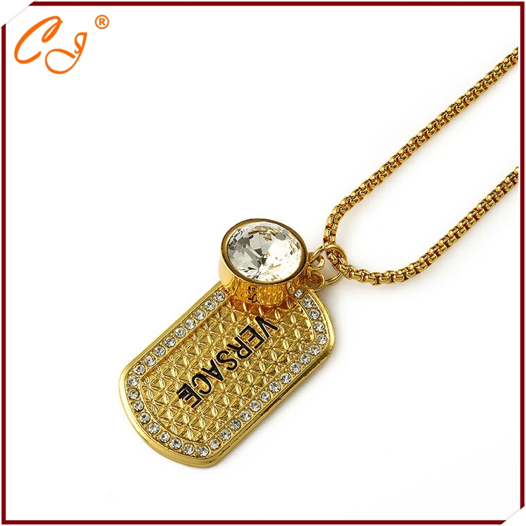 "The new 2015 original <strong>18</strong> <strong>k</strong> gold diamond disc necklace tags pendant ""hip hop jewelry wholesale"