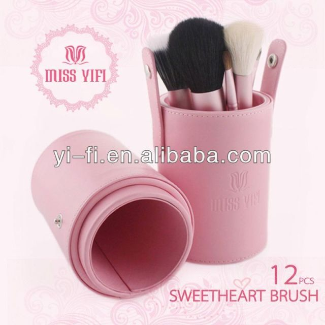 Miss Yifi Pink Canister 12pcs Makeup Brush Mini Cosmetic Brushes high quality air brush makeup kit